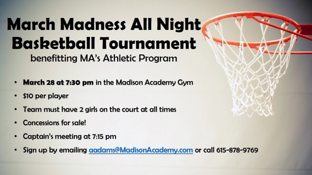 March Madness All Night Basketball Tournament flyer